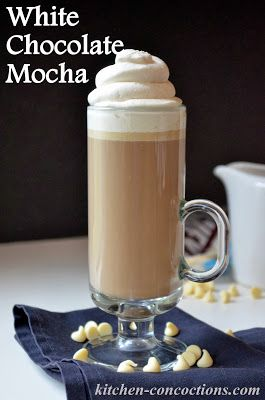 1 ¼ cups strong brewed coffee; ¼ cup milk; 2-3 tablespoons white chocolate chips (depending on desired richness); 1/2 teaspoon vanilla extract; whipped cream
