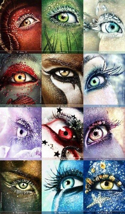 Aries, Taurus, Gemini, Cancer, Leo, Virgo Libra, Scorpio, Sagittarius, Capricorn, Aquarius, Pisces Zodiac Eyes