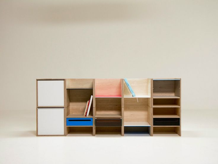 Sectional Modular Plywood Bookcase MODULE Minmin Line