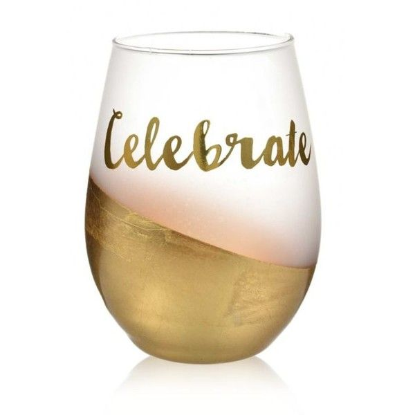 Home Accents Gold 2-Piece Celebrate Gold Foil Stemless Wine Glass Set ($13) ❤ liked on Polyvore featuring home, kitchen & dining, drinkware, gold, holiday wine glasses, gold wine glasses set, gold wine glass and gold wine glasses