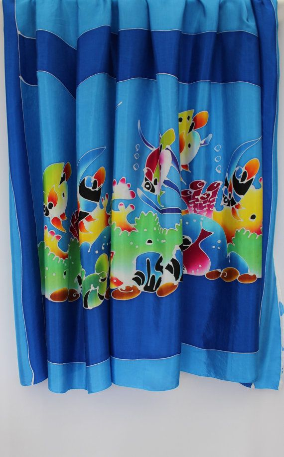 Batik beach sarong, Thai, SILK, pareo, swimwear cover up, wrap, fabric, home decor, artisan, designer, handpainted, handmade, BLUE undersea fish and coral  Exquisite (wax resist) hand-drawn SILK batik beach sarong pareo / fabric length from Chumphon, southern Thailand  ✻ Individual –the allure of handmade and exclusive!! Stunning wearable art… ✻ Versatile, add this piece to your wardrobe as an eye-catching sarong / pareo / beach-wrap, casual neck tied dress, skirt and so on, o...