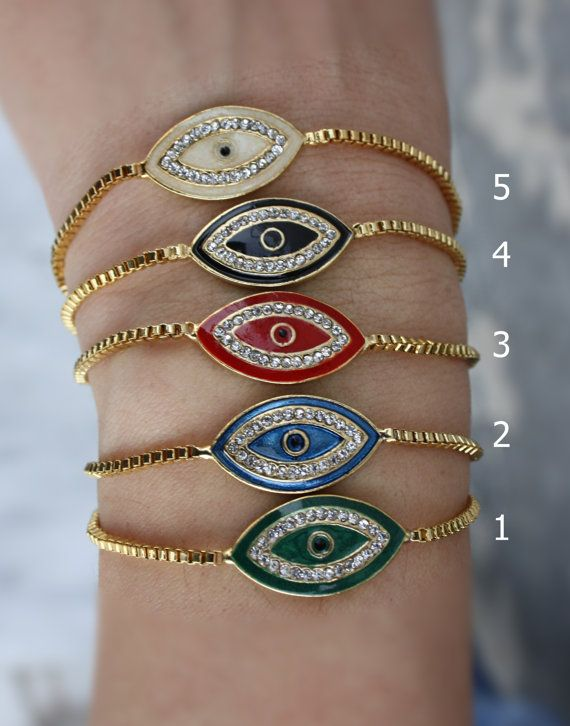 Evil Eye Bracelet  White & adjustable bracelet// Gold by appax