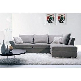 grey twill fabric sectional sofa with pillows shop home kaboodle