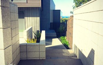 A modern entranceway designed with honed block.