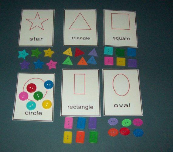 Buttons Shape Sorting Game literacy bag center preschool kindergarten Montessori