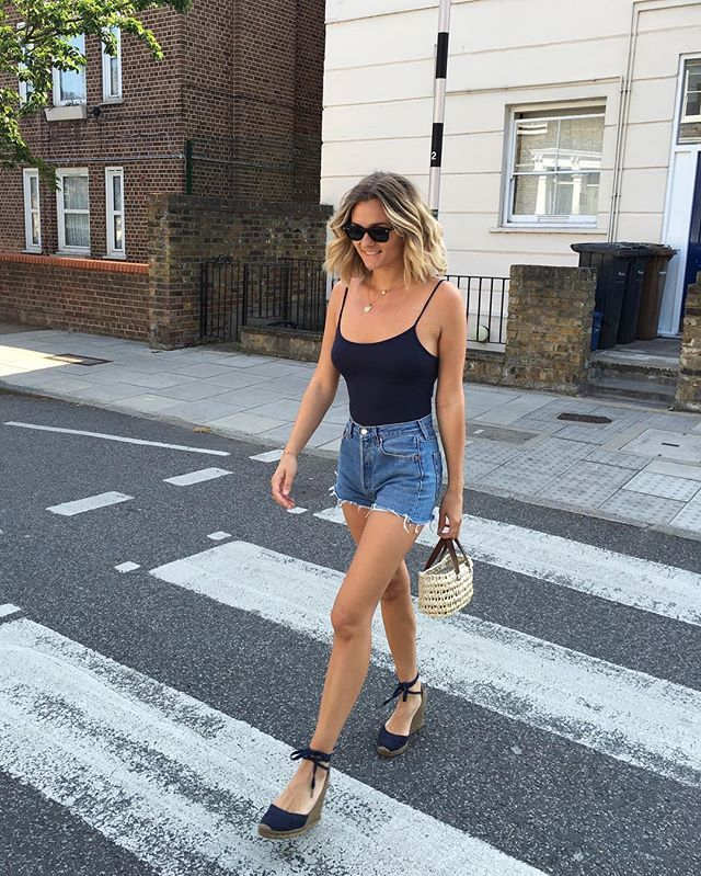 Pin for Later: How to Live Out the Rest of the Summer in Your Favorite Wardrobe Staples  A thin tank and cutoffs.