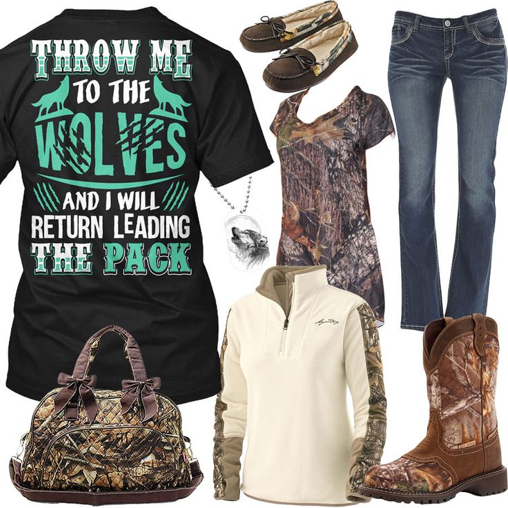 Throw Me To The Wolves Camo Slippers Outfit - Real Country Ladies