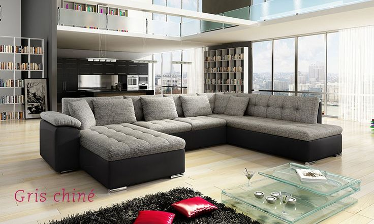 Canapé d'angle panoramique en PU noir BUNTO
