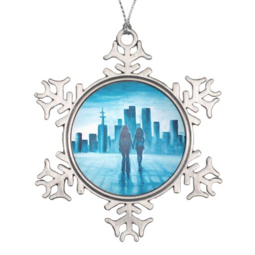 Me and my love watching the city snowflake pewter christmas ornament