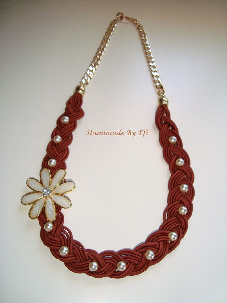 long necklace with brown string braided by hand , flower and glass pearls  https://www.facebook.com/pages/Handmade-Creations-by-Efi/187659788043676
