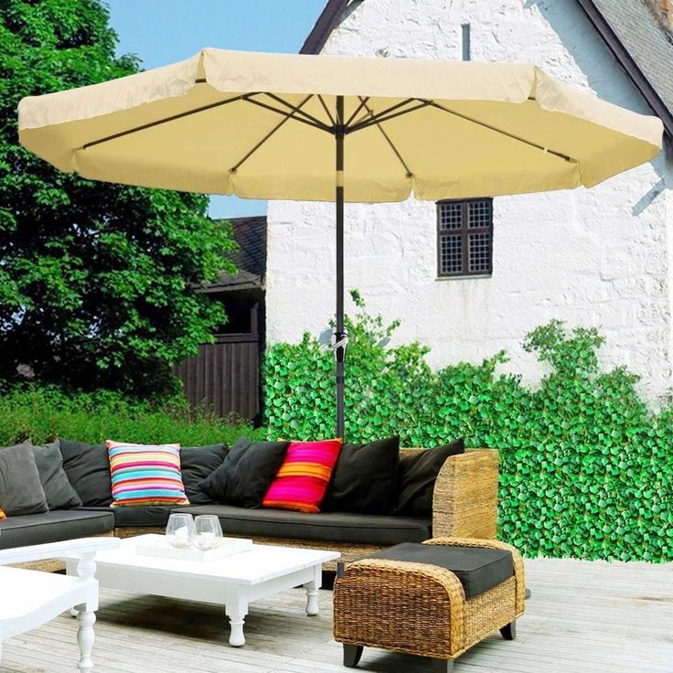 10ft Aluminum Outdoor Patio Umbrella Yard Garden Market w/Valance Crank Tilt Tan #AplusChoice