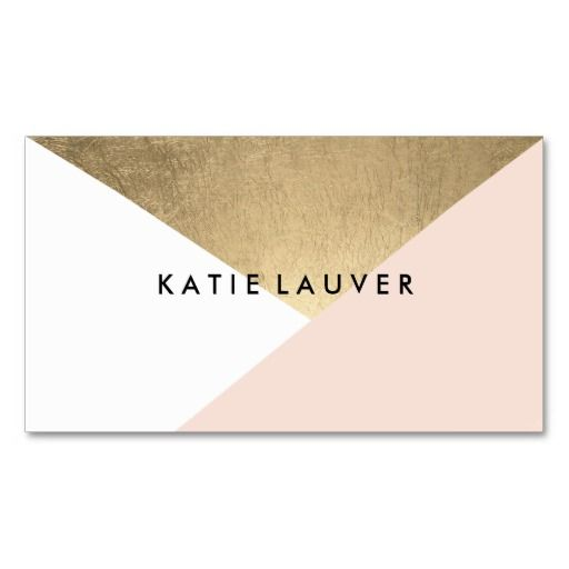 Coral white modern faux gold foil color block chic business cards. Designed by Busied
