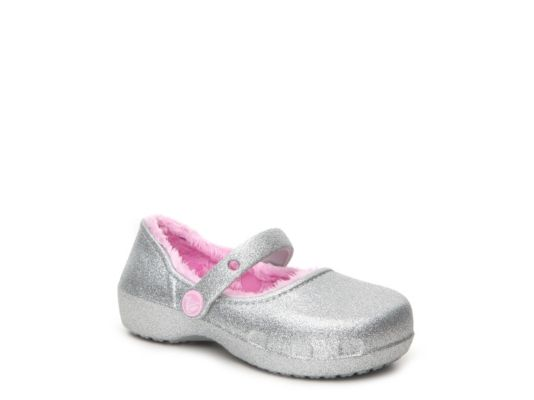 Women's Crocs Karin Sparkle Lined Girls Toddler & Youth Mary Jane Flat - Silver Metallic