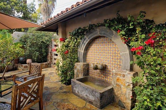 Talaveera Tile on Fountain | Indeed Decor