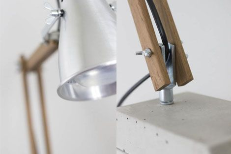 Diy industrial style wooden desk lamp with concrete base