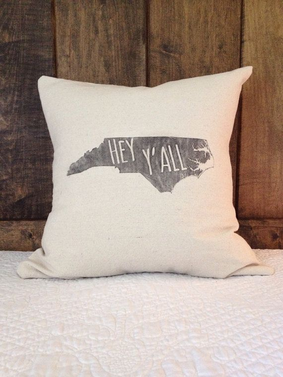 North Carolina Pillow Cover, State outline NC pillow, Hey Y'all pillow cover