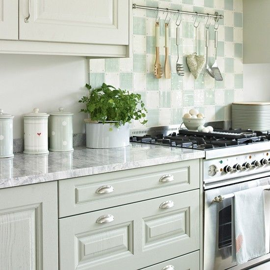 Green Kitchen Units Uk: Pale Green Kitchen With Chequerboard Splashback