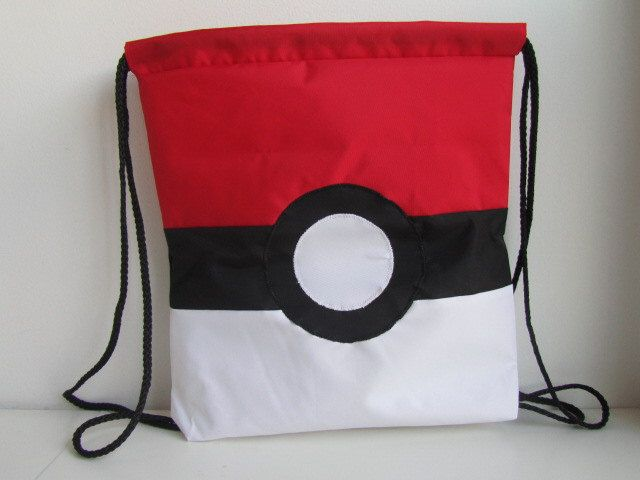 Nylon canvass drawstring bag, Poke Ball drawstring bag, Pokemon drawstring bag by ARPCreations on Etsy https://www.etsy.com/listing/220612589/nylon-canvass-drawstring-bag-poke-ball