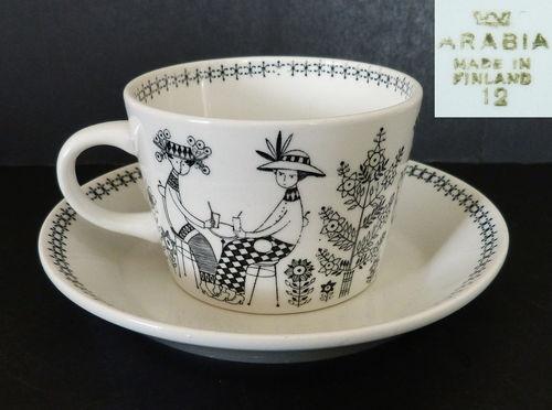 ARABIA FINLAND EMILIA MARKET TEA CUP & SAUCER RAIJA UOSIKKINEN RETRO 60s