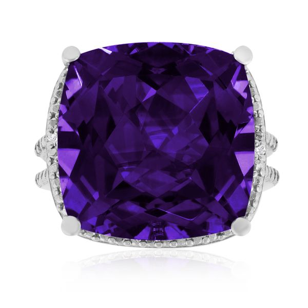 This huge 12ct cushion cut amethyst and diamond ring in solid sterling silver features an enormous amethyst accented by diamonds in J-K color and I1-I2 clarity. This ring is especially unique because