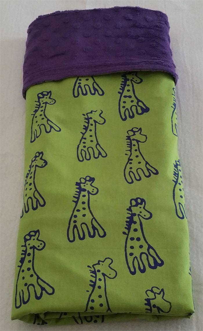Large cotton / minky baby blanket - Giraffes!