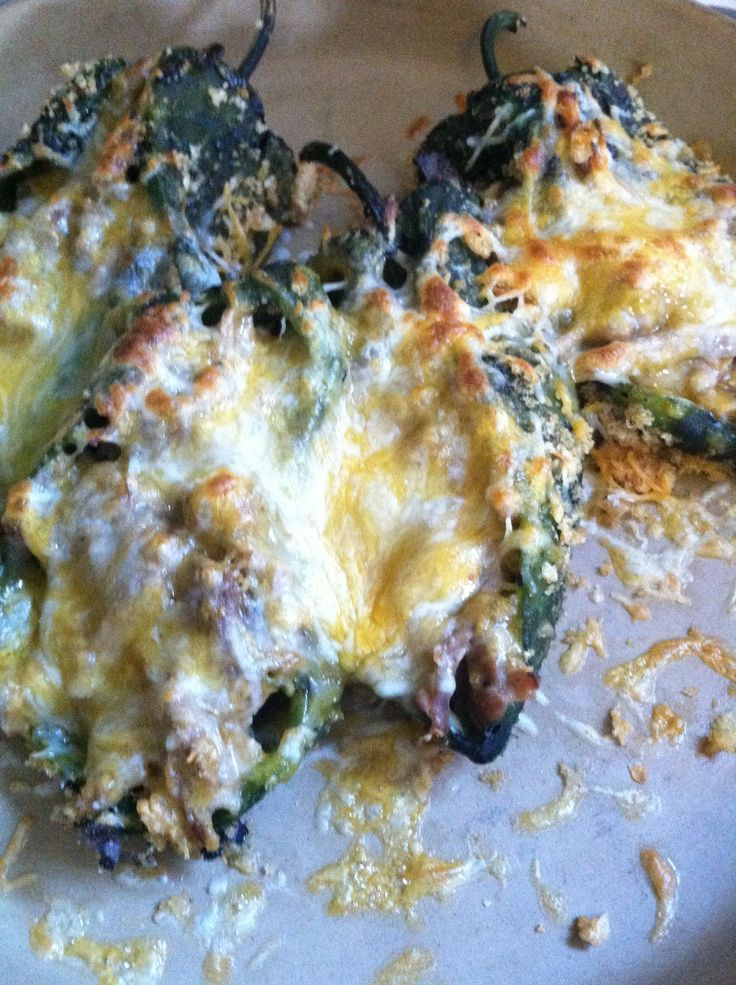 "Homemade Keto Chile Relleno-I roasted the chiles on my gas stove until they turn black. Placed in closed paper bag for 2 min, then gently shake to loosen the skin. Using a butter knife, or your hands, slide the skin off. Cut a 3"" slit and carefully turn inside out to remove the seeds. Stuff with shredded cheese and shredded pork (I cooked pork in my pressure cooker with southwestern marinade) Dredge in egg, & crushed pork rinds. Top w/ more cheese, Bake @ 425 for 5 min, then broil for 3 min."