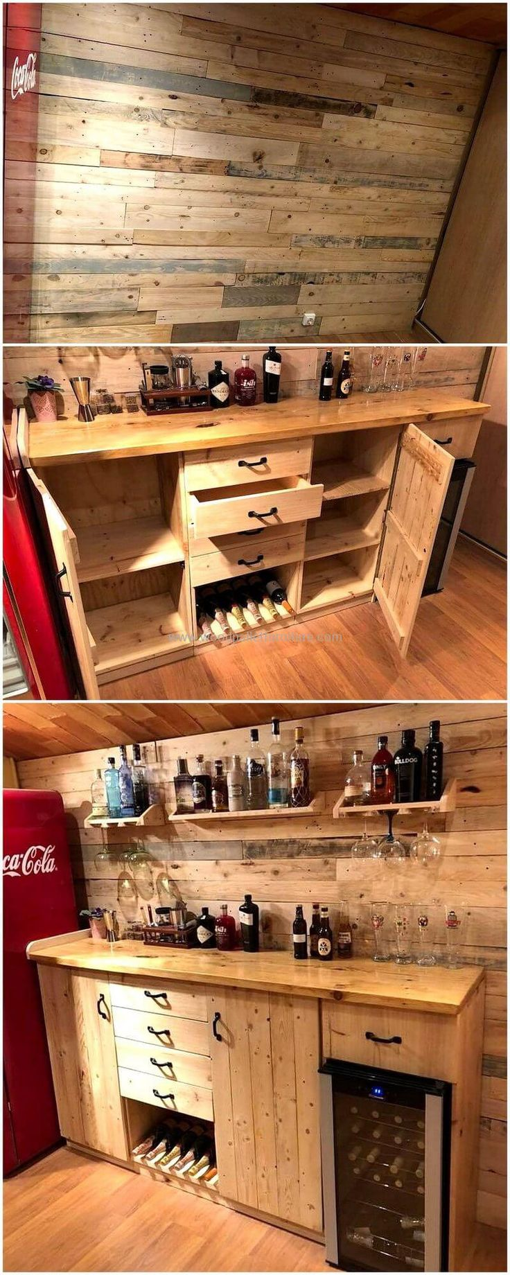 Are you looking for a complete wooden bar structure, if yes then create this pallets bar plan that is not only a complete one to be created but also giving this place an appealing look with it's structure? This pallets bar has everything in it like wooden drawers, cabins, shelves and much more.