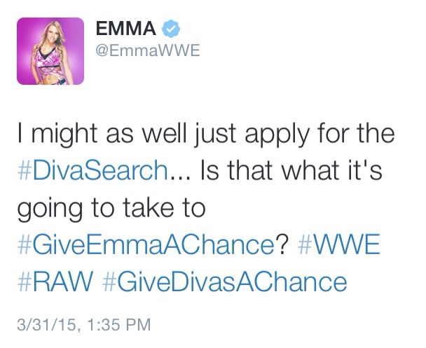 Poor Emma. She really is one of the best divas today and like most NXT talent, Vince screwed her up #GiveEmmaAChance