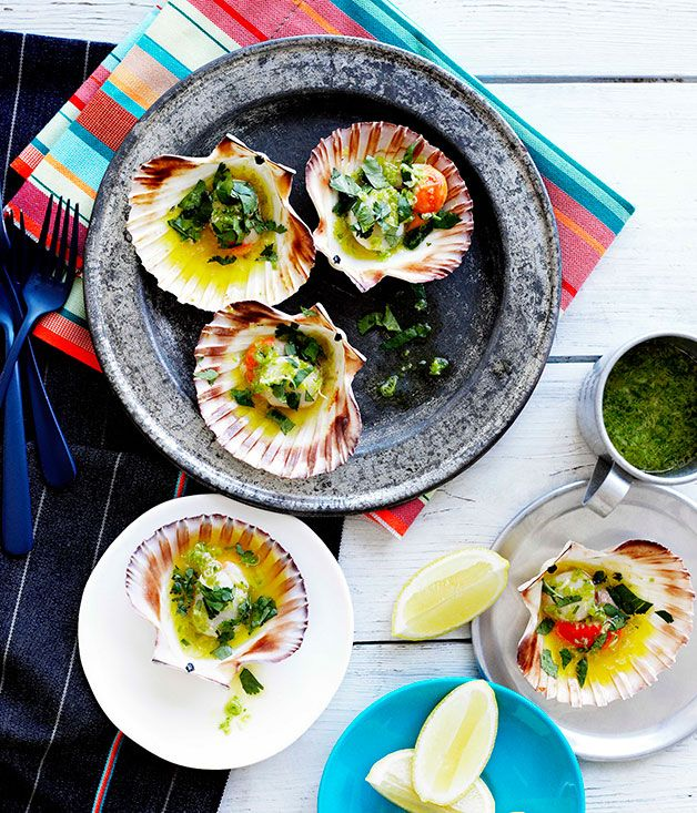 Australian Gourmet Traveller fast recipe for grilled scallops in the shell.