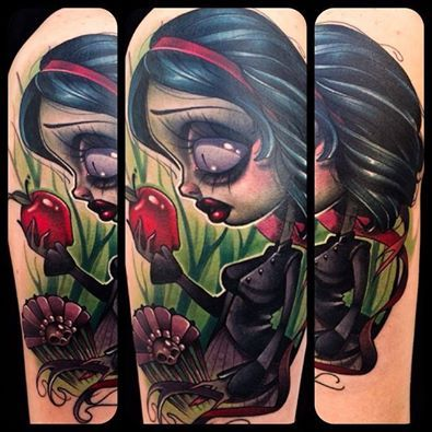 """Kelly Doty - """"Snow White. All you had to do was not take shit from creepy old ladies that wander around the woods. Literally. That was your only job. Meanwhile, the end of the story is one of the most brutal things ever. I just want to do more and more Fairy Tale tattoos!"""""""