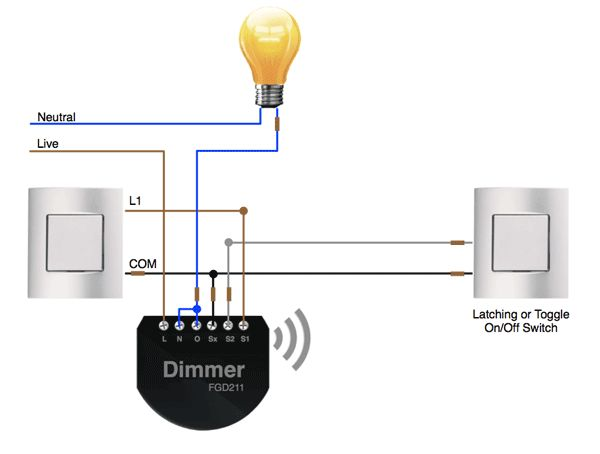 2 Way Wiring On Off Control With The Fibaro Dimmer
