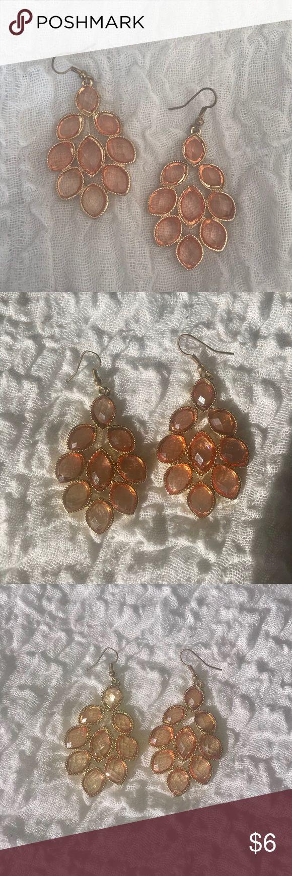 Light Orange Chandelier Earrings Only worn a few times! Comes from a smoke free home! Jewelry Earrings