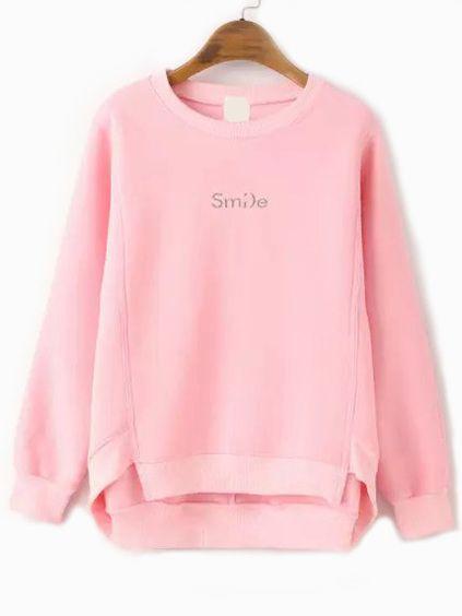 パーカー・スウェットシャツ - ピンクのトレーナーを刺繍裾手紙をディップします。