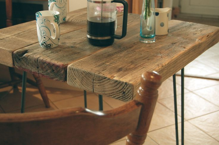 HAIRPIN LEG VINTAGE INDUSTRIAL STYLE RUSTIC WOODEN PLANK KITCHEN DINING TABLE | eBay