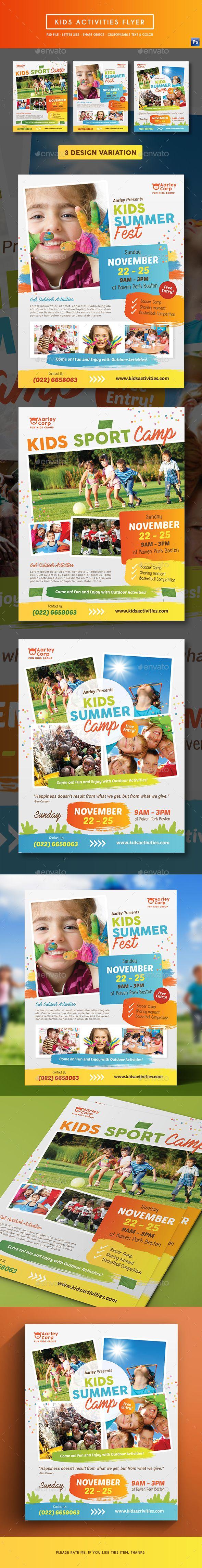 Kids Activities Flyer Design Template - Corporate Flyers Design Template PSD. Download here: https://graphicriver.net/item/kids-activities-flyer/19172525?ref=yinkira