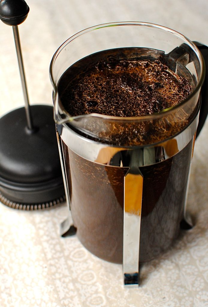 Cold brew coffee made with a French Press.