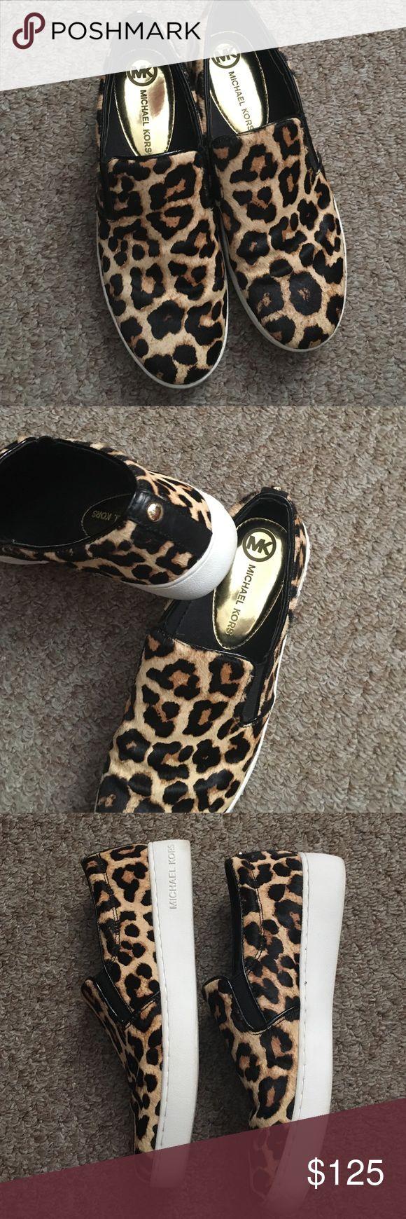 Reserved for @jonesjasmine88 Michael Kors Leopard Authentic Michael Kors leopard print slip on shoes. Worn once. Excellent condition. Michael Kors Shoes Flats & Loafers