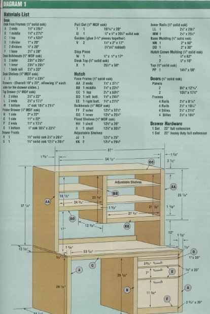Woodworking plan for desk. Complete woodworking plans with detail descriptions can be found on my website: www.tedswoodworkplans.com
