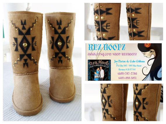 Native Boots by Rez Hoofz Size 8.5 by REZHOOFZ on Etsy, $69.95   Er Me Gersh!!!  These are beautiful!!!