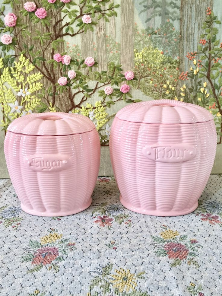 Kitchen Canisters Canister Set Kitchen Canister Set Coffee Canister Flour and Sugar Canister Pink Kitchen Pink Decor by TwoBeContinued on Etsy https://www.etsy.com/listing/267639536/kitchen-canisters-canister-set-kitchen