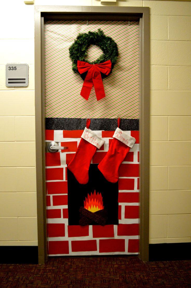 Christmas dorm door decorations - Christmas Decorated Dorm Door