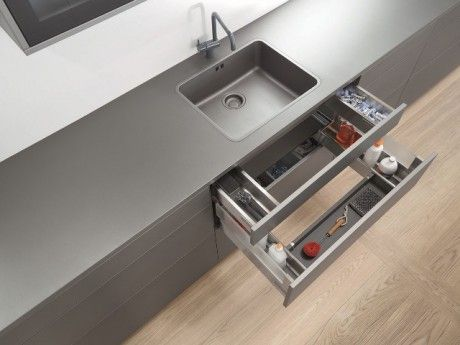Wasted space under a sink...sorted with the Blum under sink drawer concept