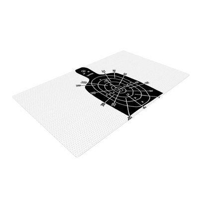 East Urban Home BarmalisiRTB Arch Arrow Target Black/White Area Rug Rug Size: 2' x 3'