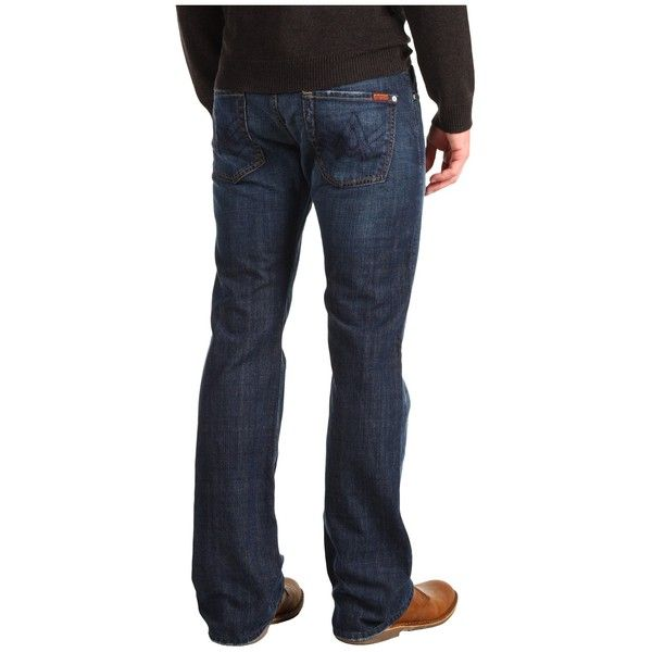 7 For All Mankind Brett Bootcut A Pocket in New York Dark (New York... ($169) ❤ liked on Polyvore featuring men's fashion, men's clothing, men's jeans, mens dark jeans, mens slim bootcut jeans, mens boot cut jeans, mens flap pocket jeans and mens ripped jeans
