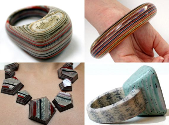 """When you think of paper as a carrier of text, illustration, history and emotion, the idea of paper jewelry sounds truly special. That's Jeremy May's take, as his """"literary jewels"""" captures the beauty of paper via a unique laminating process. His collection, Littlefly Jewelery, is made by laminating hundreds sheets of paper together, then carefully finishing to a high gloss. The paper is selected and carefully removed from a book, and transformed into amazing rings, bracelets, necklaces and…"""
