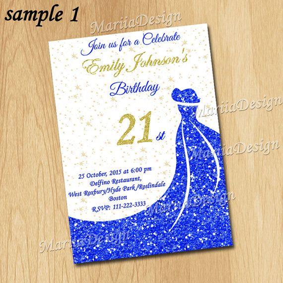 21st Birthday Invitation, 21 Birthday Invitation, 21st Invitation, Sweet 16 Invitation, Sweet Sixteen Invitation, 30 Birthday Invitation, 30th Birthday Invitation, 30th Invitation, Woman Invitation, 30th Birthday Invite, Elegant Invitation, Blue Invitation, Blue and gold Invitation, Blue dress Invitation