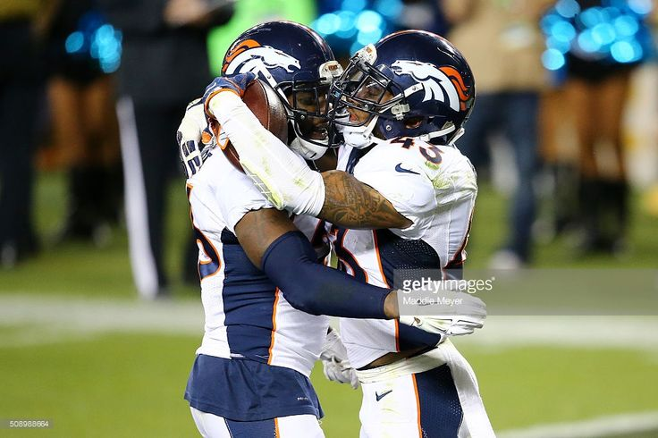Darian Stewart #26 and T.J. Ward #43 of the Denver Broncos react after a recovered fumble in the fourth quarter against the Carolina Panthers during Super Bowl 50 at Levi's Stadium on February 7, 2016 in Santa Clara, California.