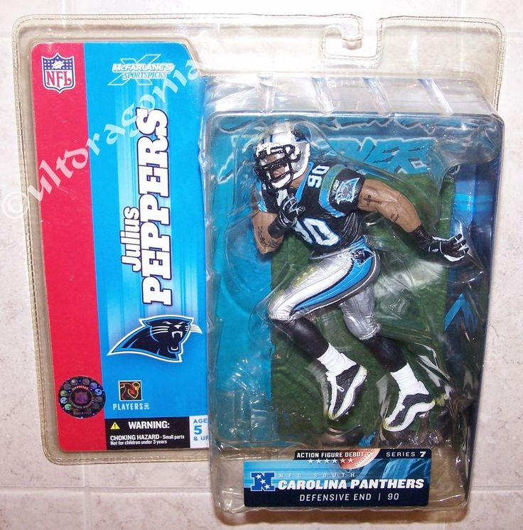 "JULIUS PEPPERS Carolina Panthers #90 Dark Jersey 6"" Figure - ROUGH PACKAGE - NEW #McFarlaneToys"