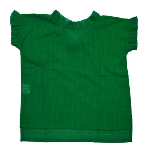 Green short-sleeve shirt designed by Orimusi. Features ruffles at the neck and sleeves.