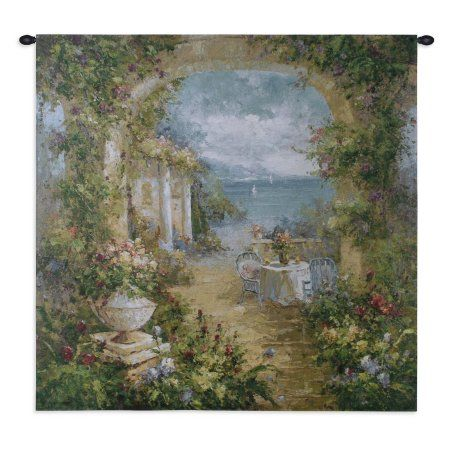 FineArtTapestries 3291-WH Mediterranean Arches II Small Wall Tapestry, Blue